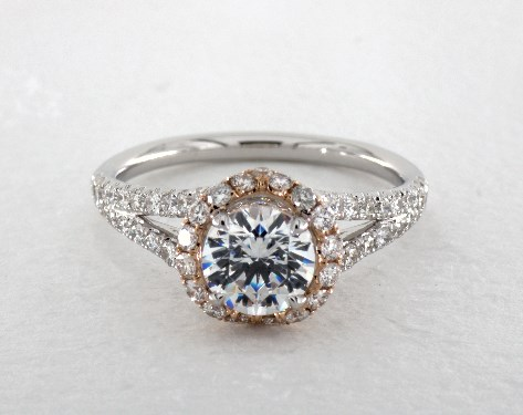 two tone wedding rings two tone tapered pave halo engagement ring platinum 17098p 8144