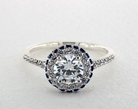 14K White Gold Sapphire Accented Falling Edge Engagement Ring