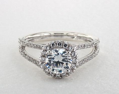 Platinum Open Split Shank Diamond Engagement Ring