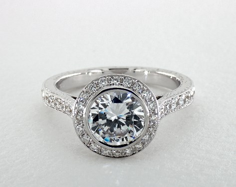 14K White Gold Hand Engraved Bezel Set Halo Pave Engagement Ring