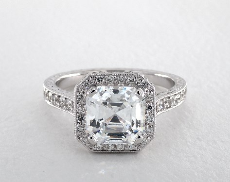 14K White Gold Hand Engraved Two Side Pave Engagement Ring