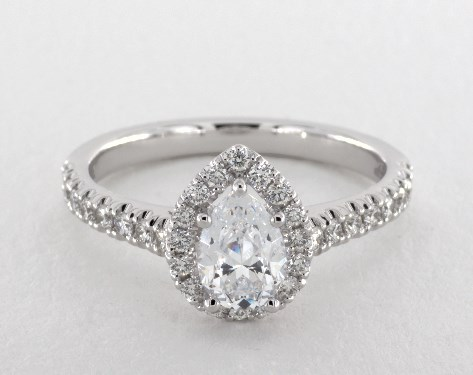 14K White Gold Tate Pear Shape Engagement Ring by Jeff Cooper