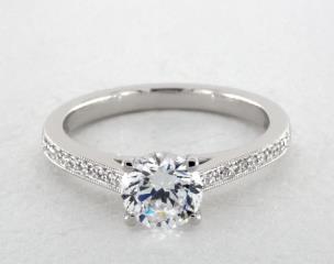 Platinum Henriette Round Engagement Ring by Jeff Cooper