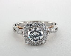 14K White Gold and Rose Gold Insignia Engagement Ring by Verragio