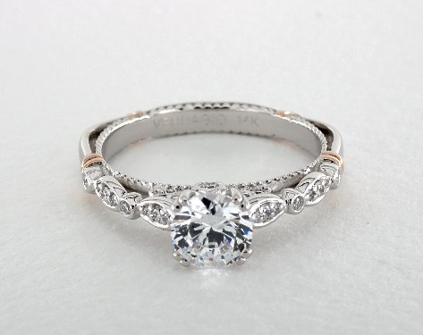 55e5b2ed8f2ea 14K White Gold and Rose Gold Parisian Engagement Ring by Verragio