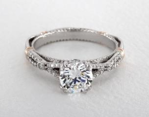 14K White Gold and Rose Gold Parisian Engagement Ring by Verragio