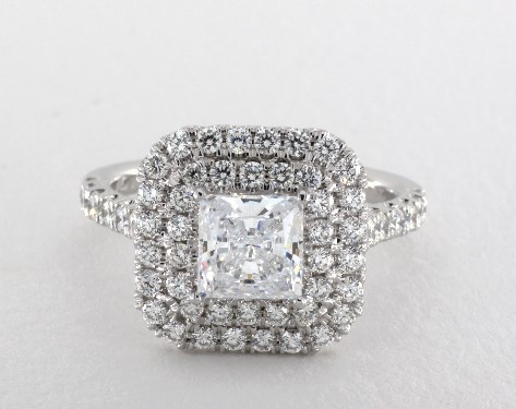 Platinum Princess Shape Double Halo Engagement Ring by Martin Flyer