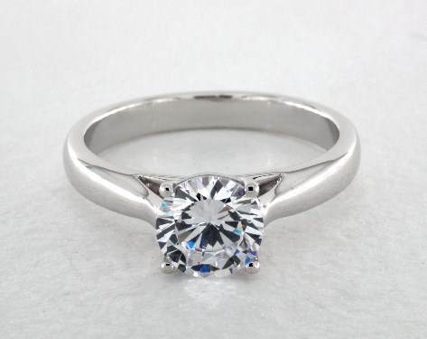 14K White Gold Tapered Cathedral Engagement Ring by Martin Flyer