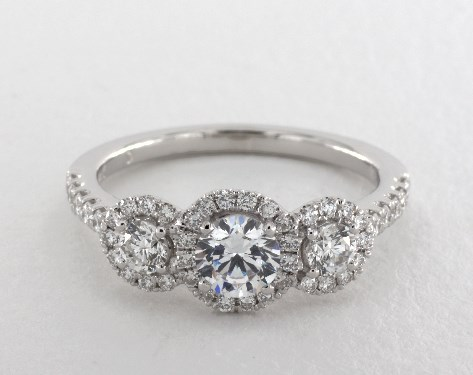 14K White Gold Three Stone Round Halo Engagement Ring by Martin Flyer