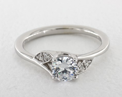 14K White Gold Twisted Vine Bypass Engagement Ring by Martin Flyer