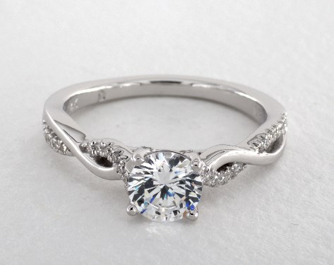14K White Gold Single Row Pave' Infinity Engagement Ring by Martin Flyer