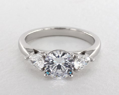 18K White Gold Three Stone Pear Shape Engagement Ring by Martin Flyer