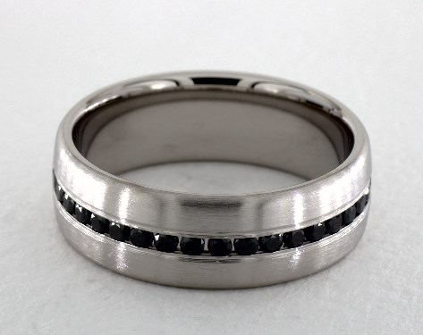 14k White Gold 7.5mm Comfort-Fit Channel Set 20-Stone Black Diamond Ring