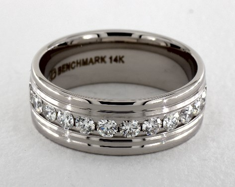 14K White Gold 8mm Comfort-Fit Channel Set Diamond Band