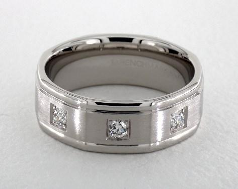 14k White Gold 8mm Comfort-Fit Pave Set 3-Stone Diamond Ring