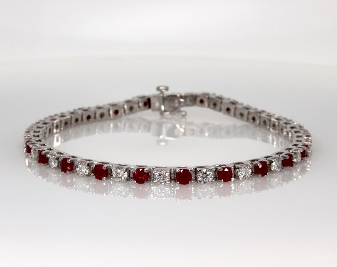 14K White Gold Ruby and Diamond Bracelet (2 3/8 CTW.)