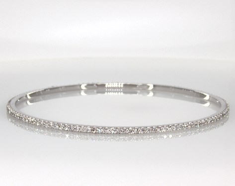 Fine Jewelry Bracelets 14k White Gold Pave Diamond Bangle 2 Ctw Item 55803