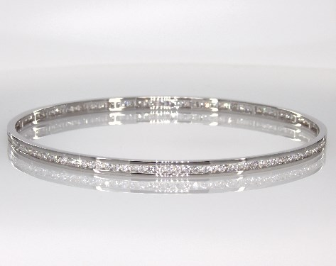 14K White Gold Diamond Channel Bangle ( 2.25 CTW.)