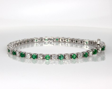14K White Gold Emerald and Diamond Bracelet (2 3/8 CTW.)