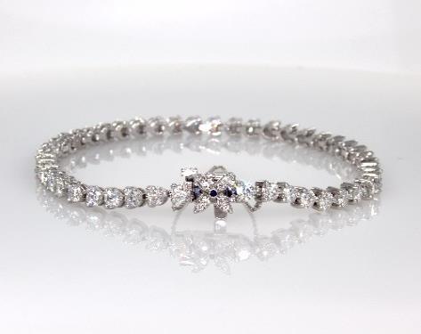 14K White Gold Sapphire and Diamond Flower Clasp Bracelet (4 CTW.)