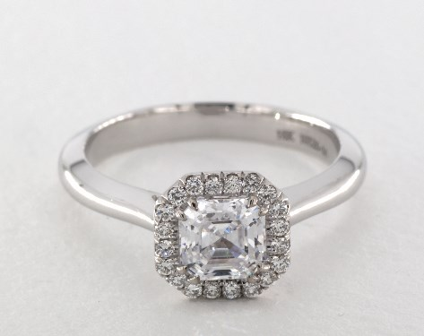 14K White Gold Classico Single Shank Asscher Cut Halo Engagement Ring Style#: CL102- AS by Danhov