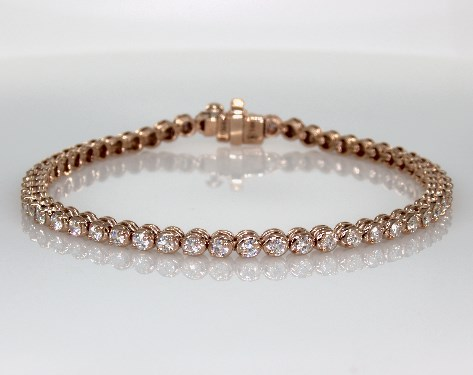 14K Rose Gold Two Prong Diamond Bracelet (2 CTW.)