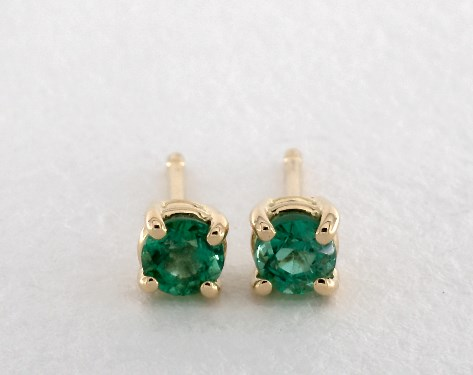 Earrings Gemstone 18k Yellow Gold Four G Round Emerald 031 Ctw Item 58922