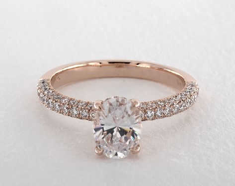 14K Rose Gold Three Sided Pave Basket Engagement Ring (Oval)