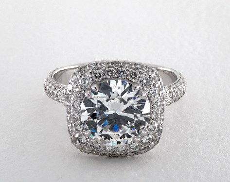 Double Claw Prong Cushion Pave Halo Engagement Ring