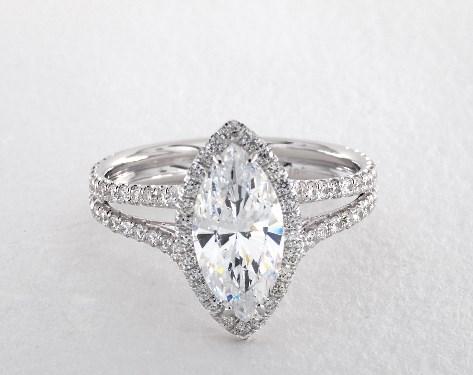 Double Shank Marquise Halo Engagement Ring 14k White