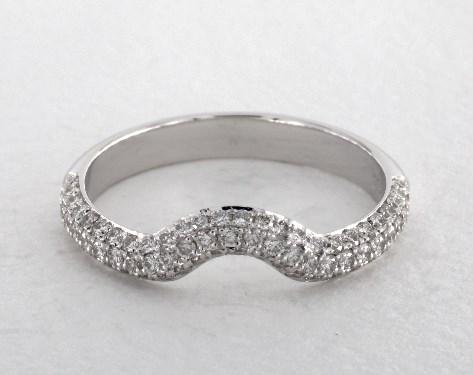 Wedding Rings Matching Bands Platinum Triple Row Pave Split Shank Halo Band Item 59463