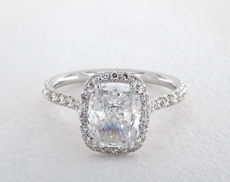 14K White Gold Double Claw Prong Pave Halo Engagement Ring