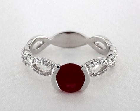 14K White Gold Half Bezel Crisscross Pave Engagement Ring