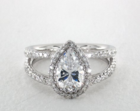 Double Shank Pear Halo Engagement Ring 14k White Gold