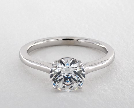 14K White Gold Claw Prong Solitaire Basket Engagement Ring (Round)