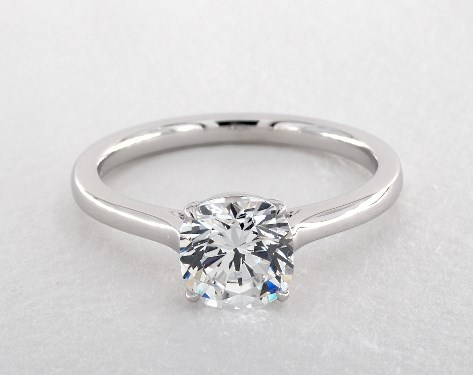 14K White Gold Claw Prong Solitaire Basket Engagement Ring (Cushion)