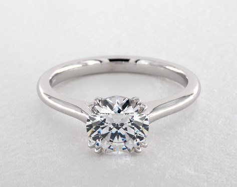 18K White Gold Double Claw Prong Solitaire Basket Elevated Engagement Ring