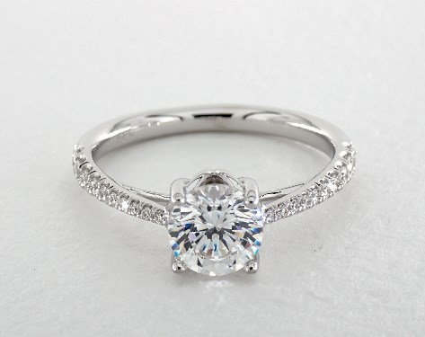 14K White Gold Floral Basket Tapered Pave Engagement Ring