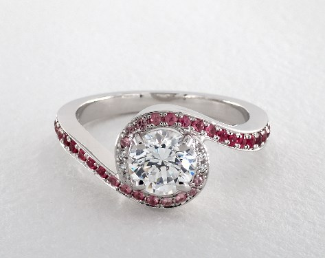 18K White Gold Ruby and Diamond Swirl Pave Halo Engagement Ring