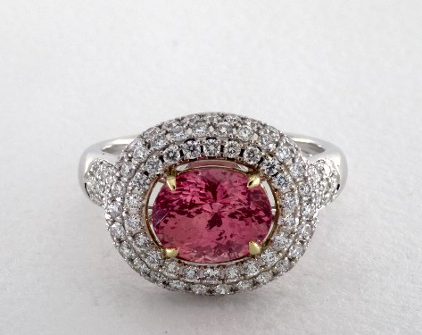fine jewelry gemstone rings 18k two tone double halo