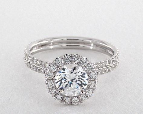 14K White Gold Per Lie Double Shank Halo Style#: LE506Q by Danhov