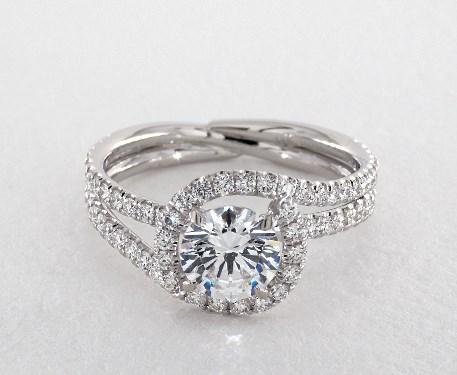 14K White Gold Abbraccio Swirl Engagement Ring Style#: AE506Q by Danhov