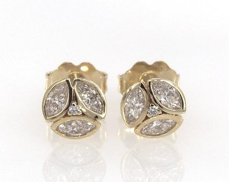 14K Yellow Gold Art Deco Inspired Marquise Diamond Cluster Earrings
