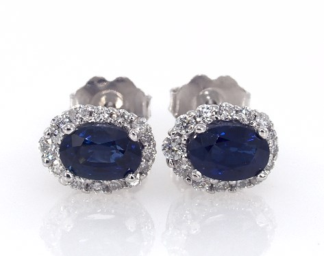 14K White Gold Blue Sapphire and Diamond Halo Earrings