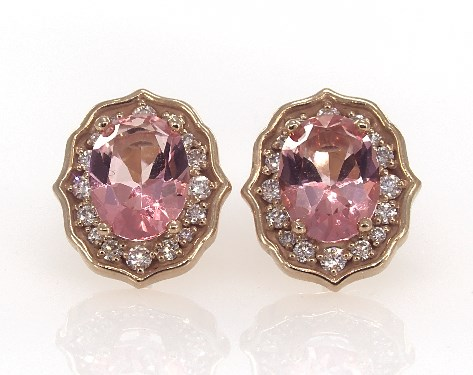 Fine Jewelry Gemstone Earrings 14k Rose Gold Art Deco Inspired Pink Topaz And Diamond Item 61441