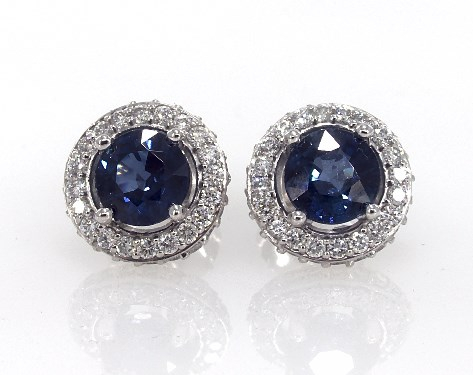 14k White Gold Blue Shire And Diamond Falling Edge Pave Halo Earrings