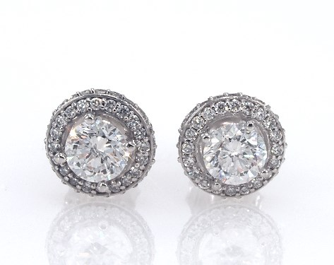 14K White Gold Diamond Falling Edge Pave Halo Earrings (1.30 ctw.)