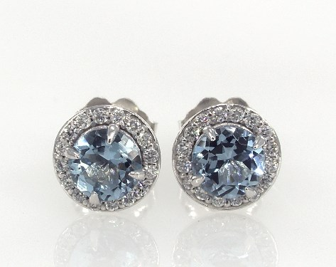 14K White Gold Aquamarine and Diamond Pave Halo Earrings