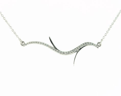 14K White Gold Diamond Branch Design Necklace