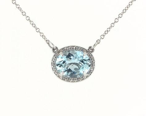 14K White Gold East-West Oval Aquamarine and Diamond Halo Necklace